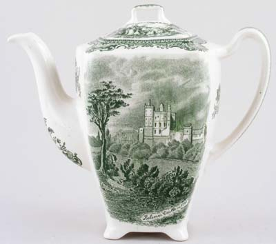 Johnson Bros Old Britain Castles green Coffee Pot c1960s