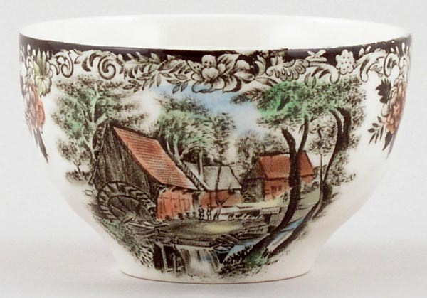 Johnson Bros Mill Stream brown with colour Sugar Bowl small c1970