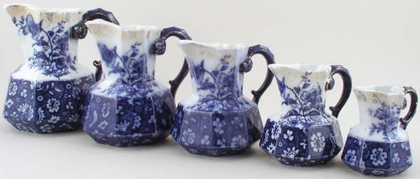Keeling Alton Jugs or Pitchers set of 5 c1900