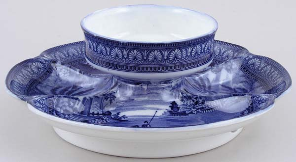 Maling Blue Egypt Cheese and Biscuit Dish c1930s