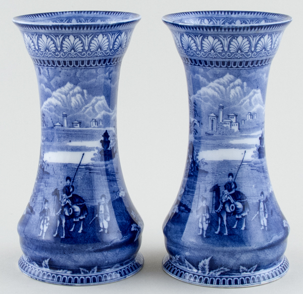 Maling Blue Egypt Vases pair of c1930s
