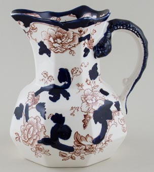Masons Mandalay blue with colour Jug or Pitcher c1930s