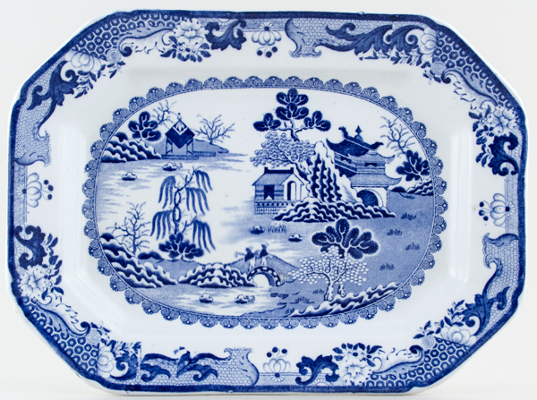 Masons Blue Chinese Landscape Meat Dish or Platter c1909