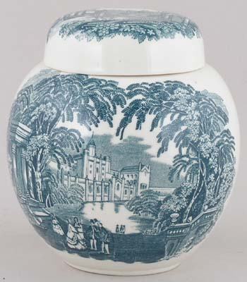Masons Vista green Ginger Jar c1940s