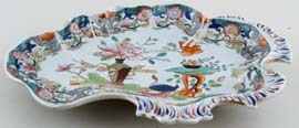 Masons Table and Flower Pot colour Dessert Dish c1820