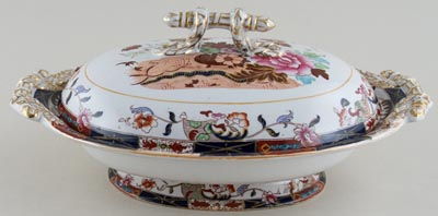 Masons Urn and Flowers colour Dish with Cover c1890