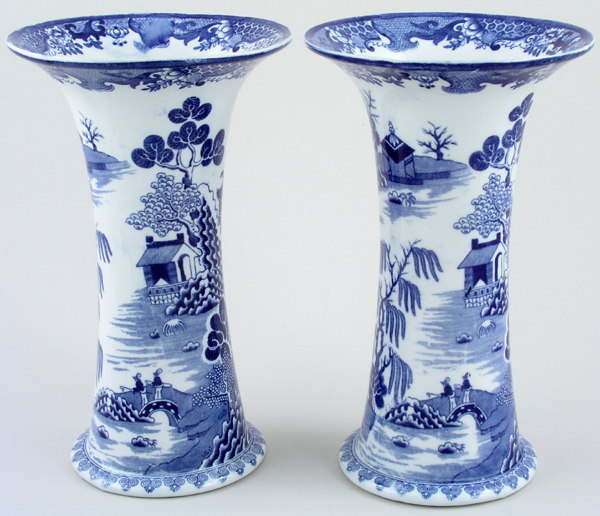 Masons Blue Chinese Landscape Vases Pair of c1920s