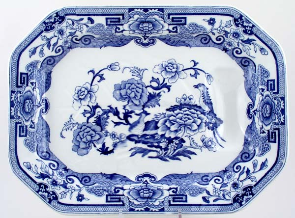 Masons Blue Pheasants Meat Dish or Platter with Tree and Well c1900