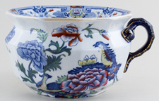 Masons Blue Pheasants blue with colour Chamber Pot c1900
