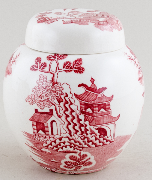 Masons Chinese Landscape pink Ginger Jar Twinings