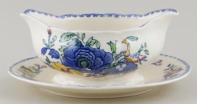 Masons Plantation Colonial colour Sauce Boat fixed stand