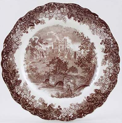 Meakin J and G Romantic England brown Plate Haddon Hall c1970s