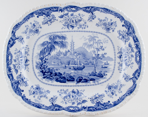 Minton Chinese Marine Meat Dish or Platter c1830
