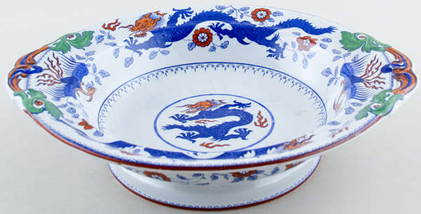Minton Chinese Dragon and Bird blue with colour Comport c1920s