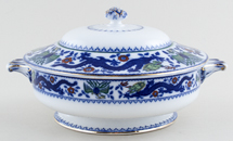 Minton Chinese Dragon and Bird blue with colour Vegetable Dish with Cover c1920s