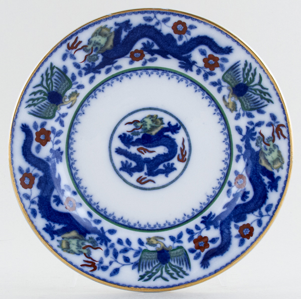 Minton Chinese Dragon and Bird blue with colour Plate c1926
