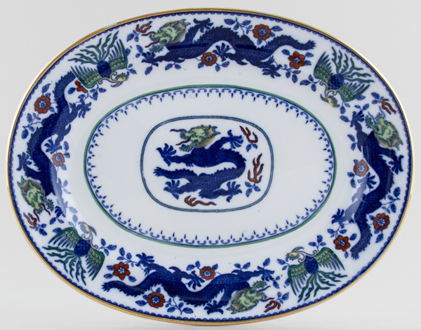 Minton Chinese Dragon and Bird blue with colour Meat Dish or Platter small c1925