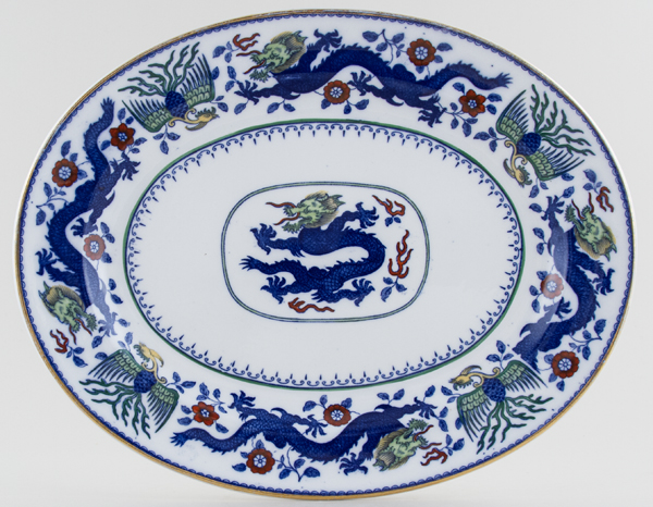 Minton Chinese Dragon and Bird blue with colour Meat Dish or Platter c1925