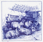 Tile c1880 Sheep