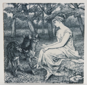 Minton Country Pursuits grey Tile c1880