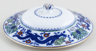 Minton Chinese Dragon and Bird blue with colour Vegetable Dish Lid c1920s