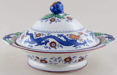 Minton Chinese Dragon and Bird blue with colour Covered Dish c1920s