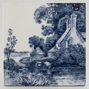 Minton Waterside Architecture grey Tile c1895