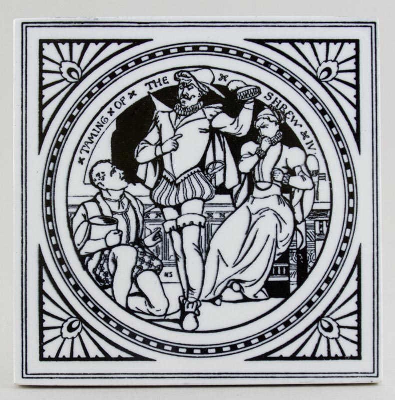 Minton Shakespeare Series black Tile Taming of the Shrew c1880