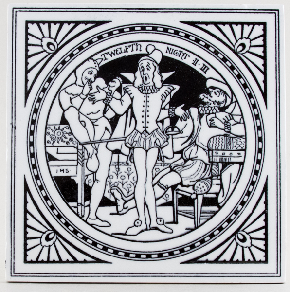 Minton Shakespeare Series black Tile Twelfth Night c1880