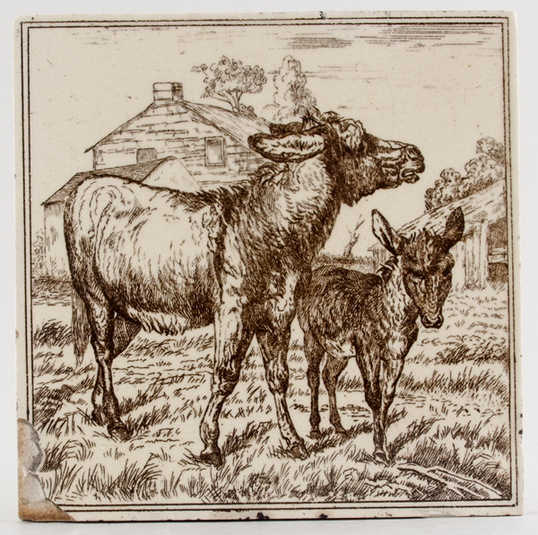 Minton Hollins Farm Animals brown Tile c1880