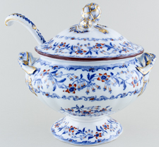 Minton Fuschia blue with colour Soup Tureen with Ladle c1845