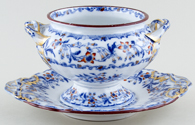 Minton Fuschia blue with colour Sauce Tureen c1825