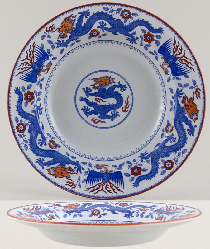 Minton Chinese Dragon and Bird blue with colour Dessert or Small Soup Plate c1929