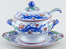 Minton Chinese Dragon and Bird blue with colour Sauce Tureen c1930s