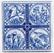 Minton Hollins Birds Series Tile c1880