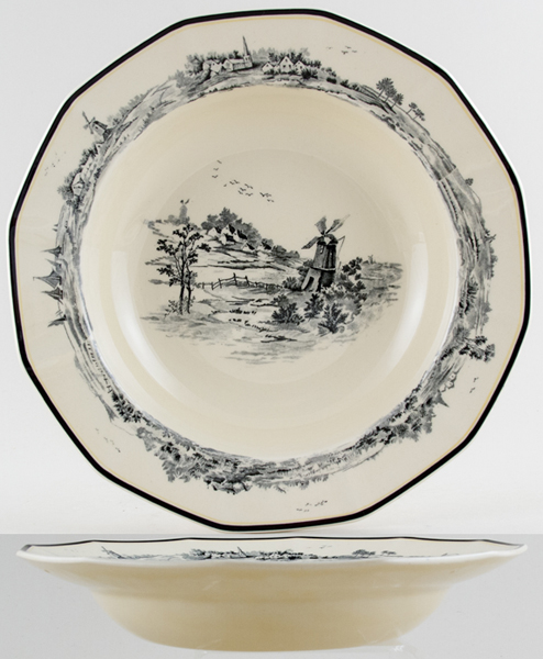 Royal Doulton Norfolk black Soup or Pasta Plate c1929