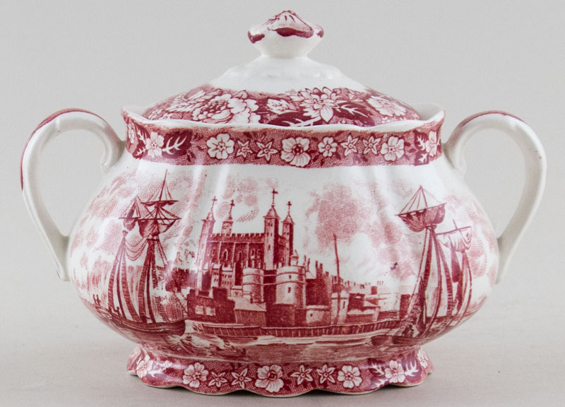Palissy Thames River Scenes pink Sugar with Cover Tower of London c1950s