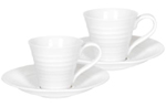 Portmeirion Sophie Conran White Cup and Saucer Espresso Set of Two