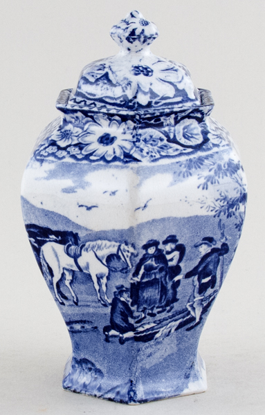 Pratt Native Scenery Vase with Cover c1900