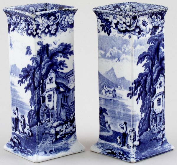 Pratt Lake Scenery Vases pair of square c1900