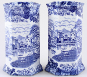 Vases pair of hexagonal c1920s