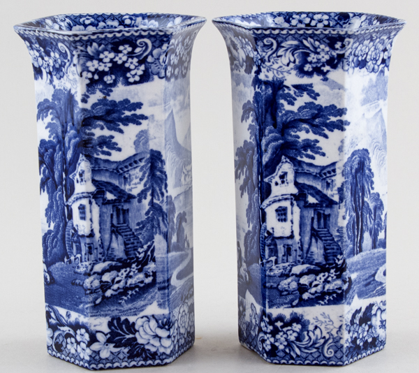 Pratt Lake Scenery Vases pair of hexagonal c1900
