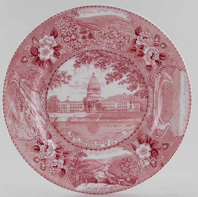 Ridgway American Commemorative pink Plate Charleston West Virginia c1960s