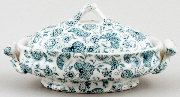 Ridgway Chintz green Toy Vegetable Dish c1900