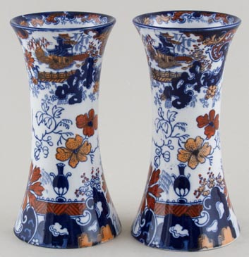 Ridgway Chinese Japan blue with colour Vases pair c1900