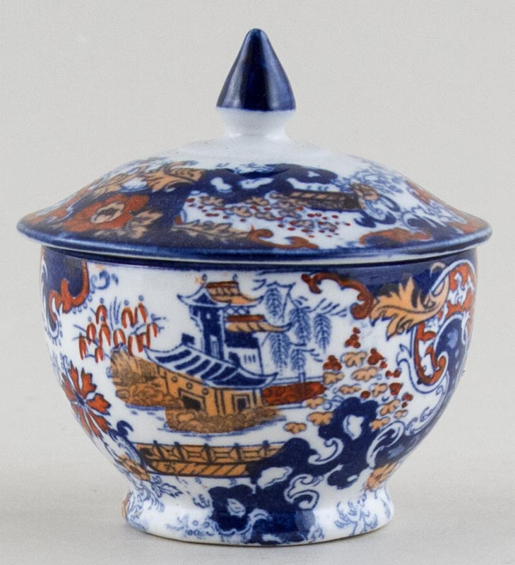 Ridgway Chinese Japan blue with colour Pot with Cover c1900