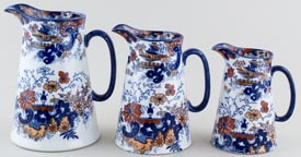 Ridgway Chinese Japan blue with colour Jugs or Pitchers set of three c1900