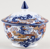 Ridgway Chinese Japan blue with colour Small Pot with Cover c1915