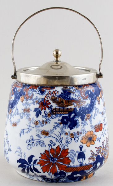 Ridgway Chinese Japan blue with colour Biscuit Barrel c1900