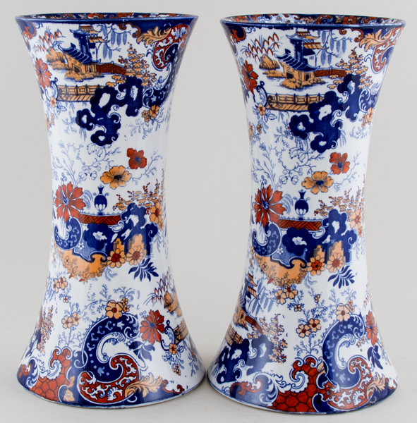 Ridgway Chinese Japan blue with colour Vases pair of large c1900
